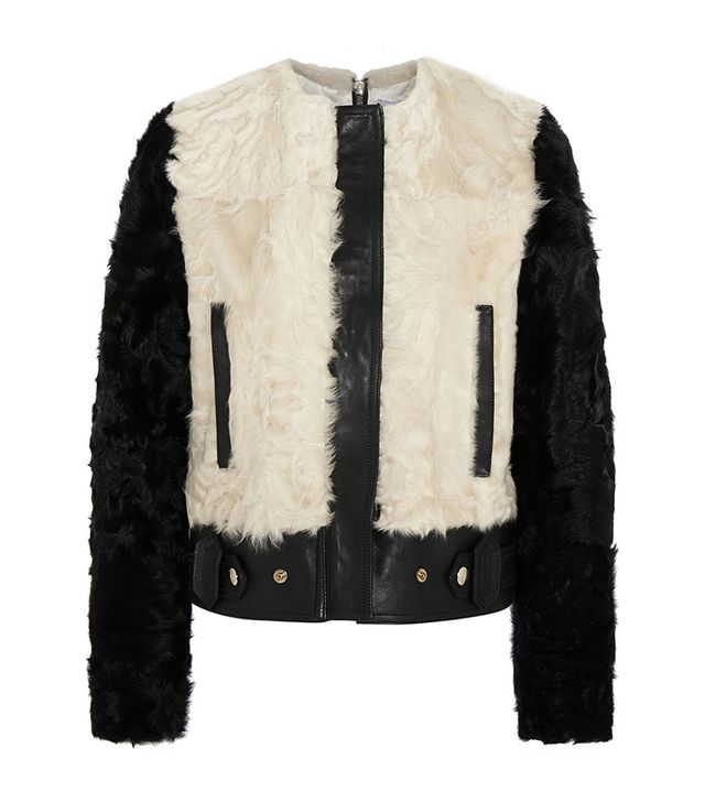 Givenchy Two-Tone Leather and Shearling Biker Jacket