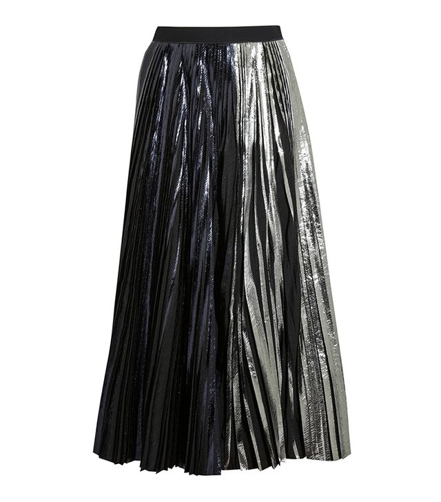 Proenza Schouler Pleated Metallic Coated Cloque Maxi Skirt