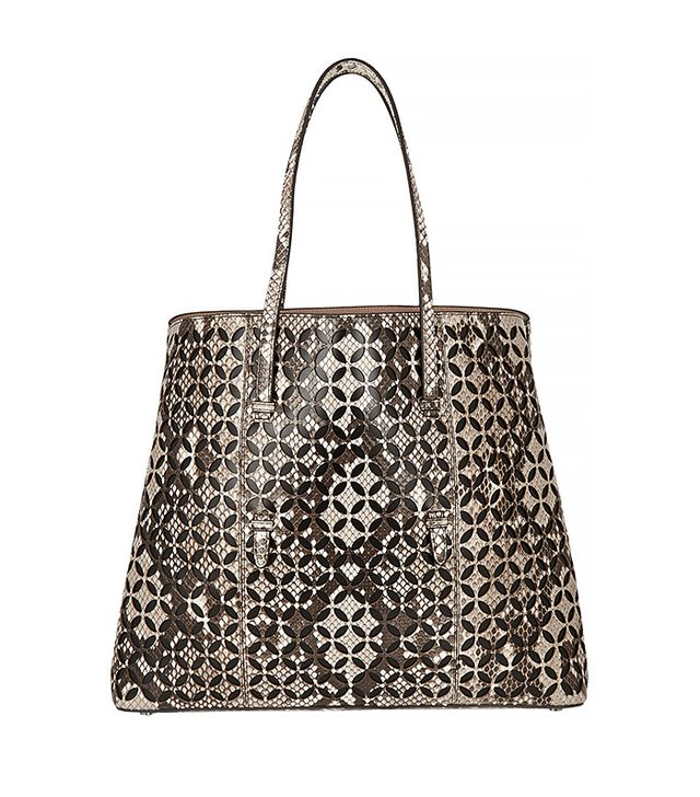 Alaïa Petal Laser-Cut Python and Leather Tote