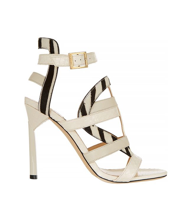 Jimmy Choo Vanquish Elaphe and Zebra-Print Calf Hair Sandals