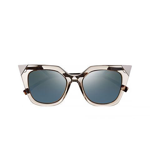 Embellished Cat-Eye Acetate Mirrored Sunglasses