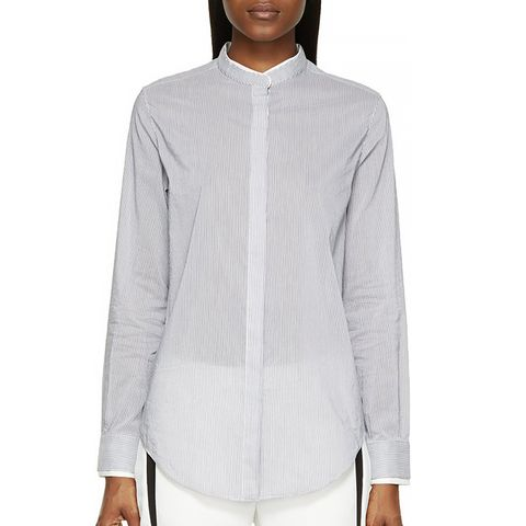 White Pinstripe Band Collar Button-Up Shirt