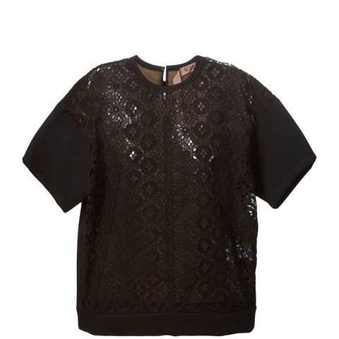 Lace Short Sleeve Sweatshirt