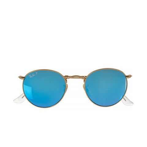 Round-Frame Gold-Tone Polarized Mirrored Sunglasses