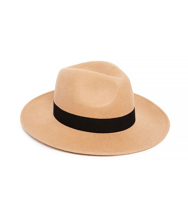 ASOS Felt Fedora Hat With Wide Band and Stitch Edge