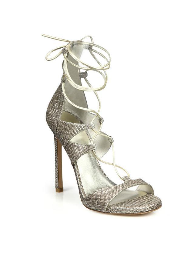 Stuart Weitzman Lamé & Metallic Leather Lace-Up Sandals