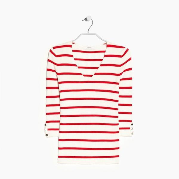 Mango Striped Rib Sweater