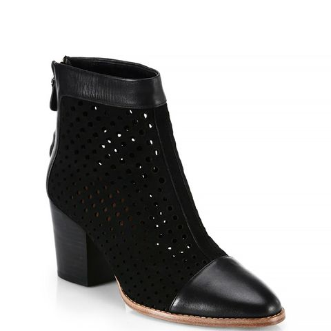 Perforated Suede & Leather Bedford Ankle Boots