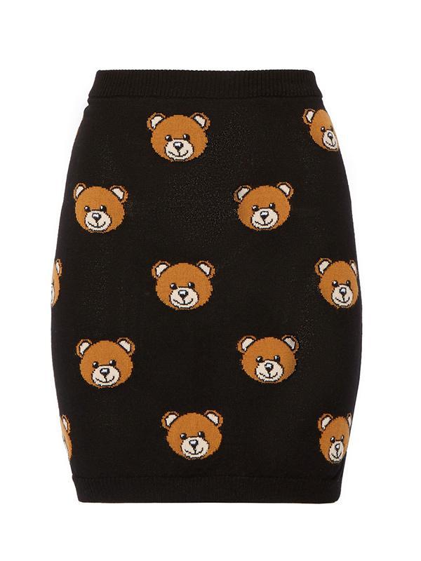 Moschino Bear-Intarsia Wool Mini Skirt