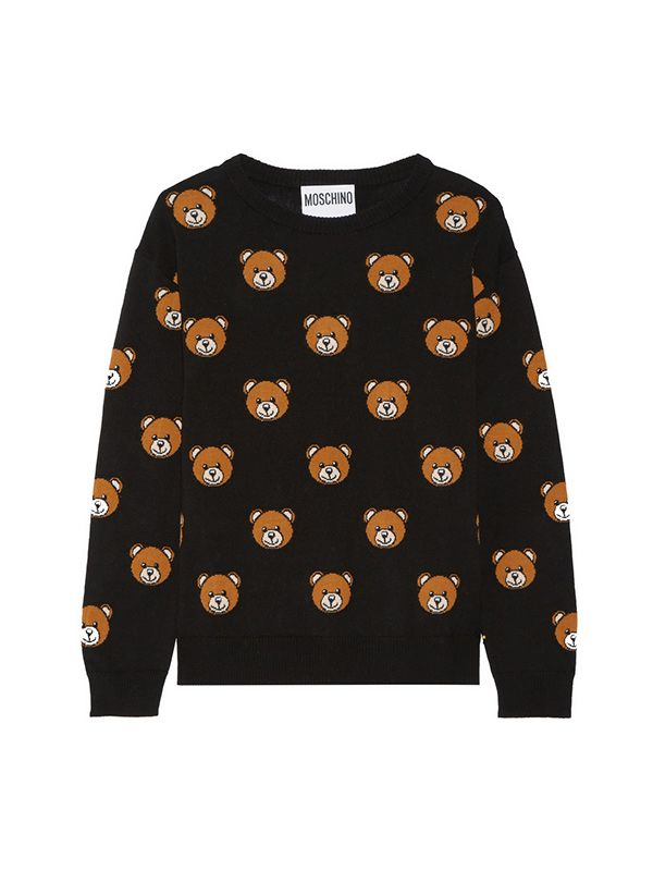 Moschino Bear-Intarsia Wool Sweater