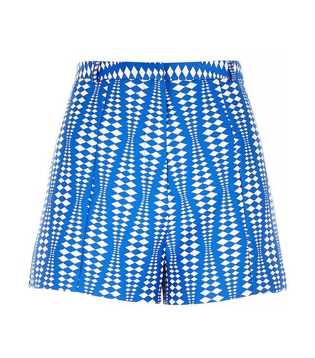 River Island Blue Geometric Print Smart Shorts