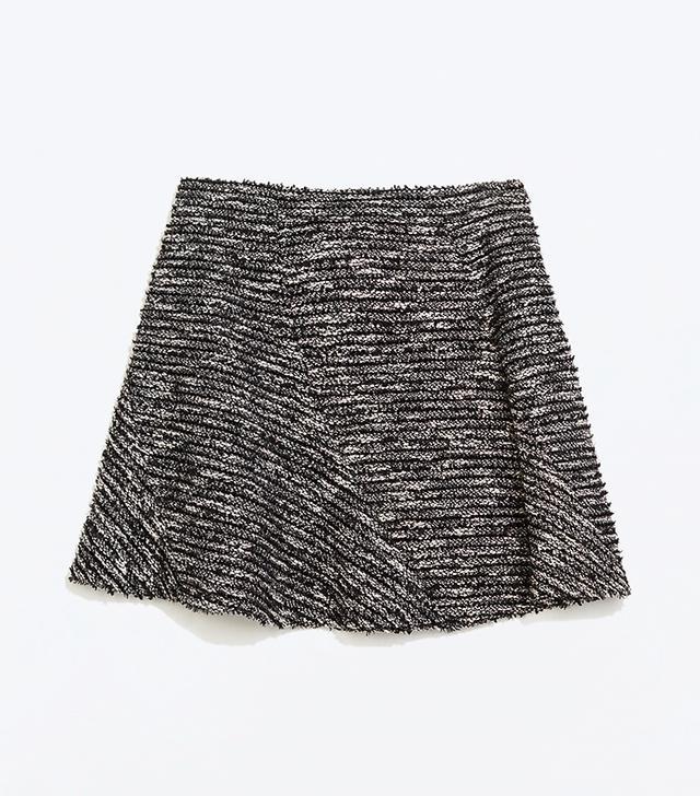 Zara Special Fabric Seamed Miniskirt
