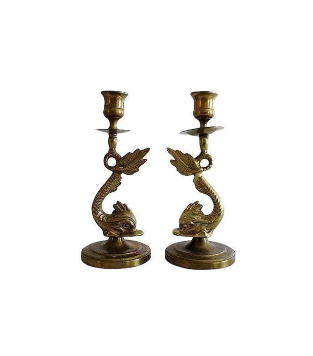 Chairish Brass Koi Candlesticks