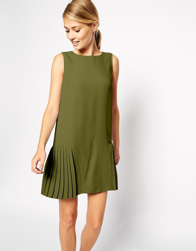 ASOS Shift Dress with Drop Waist and Pleated Skirt