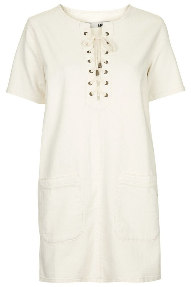Topshop MOTO Denim Lace-Up T-Shirt Dress