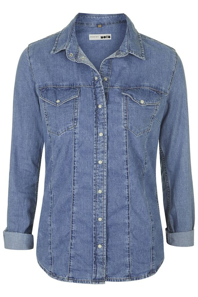 Topshop MOTO Bleach Western Shirt