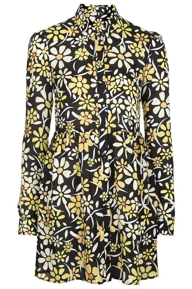 Topshop Daisy Print Shirt Dress