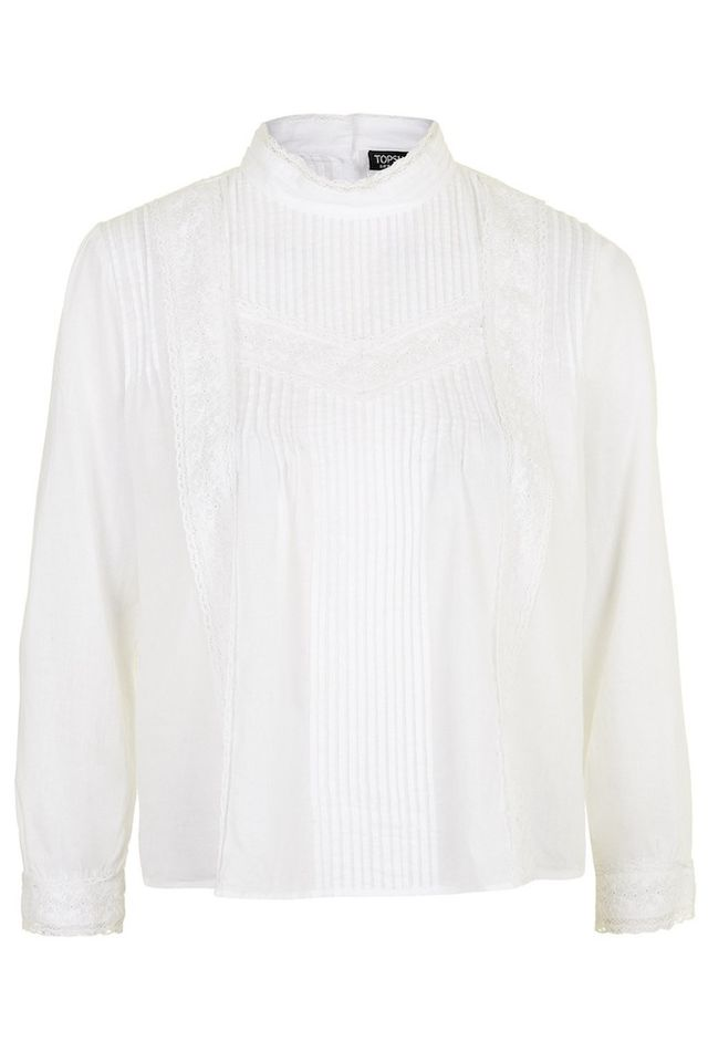 Topshop Pintuck Lace Trim Blouse