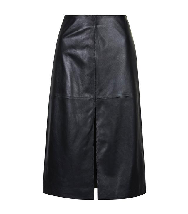 Topshop Leather Split Front Skirt