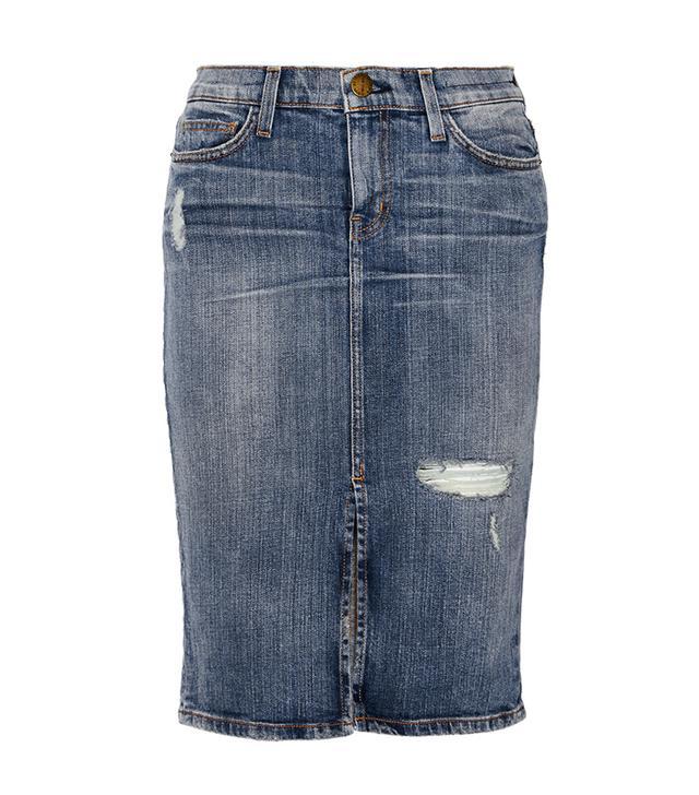 Current/Elliott The High Waist Distressed Denim Pencil Skirt