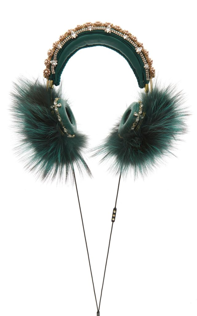 Dolce & Gabbana Green Embroidered Nappa Leather Headphones With Fox Fur