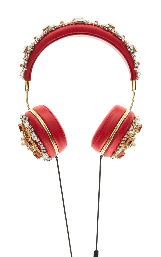 Dolce & Gabbana Red Embroidered Nappa Leather Headphones