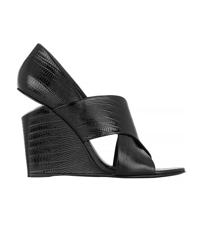 Alexander Wang Ida Lizard-Effect Patent-Leather Wedge Sandals