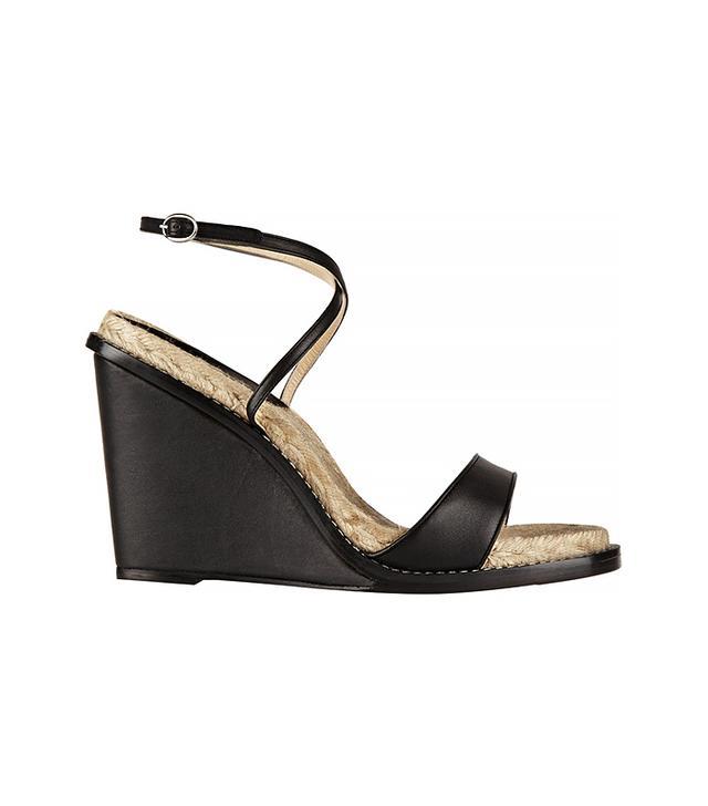 Paul Andrew Hampton Matte-Leather Espadrille Wedge Sandals