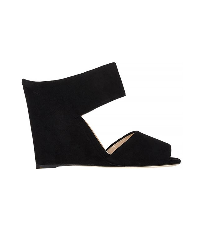 Prada Suede Double-Band Wedge Mules