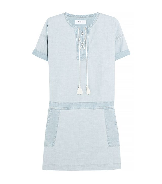 MiH Jeans The Poncho Cotton-Chambray Mini Dress
