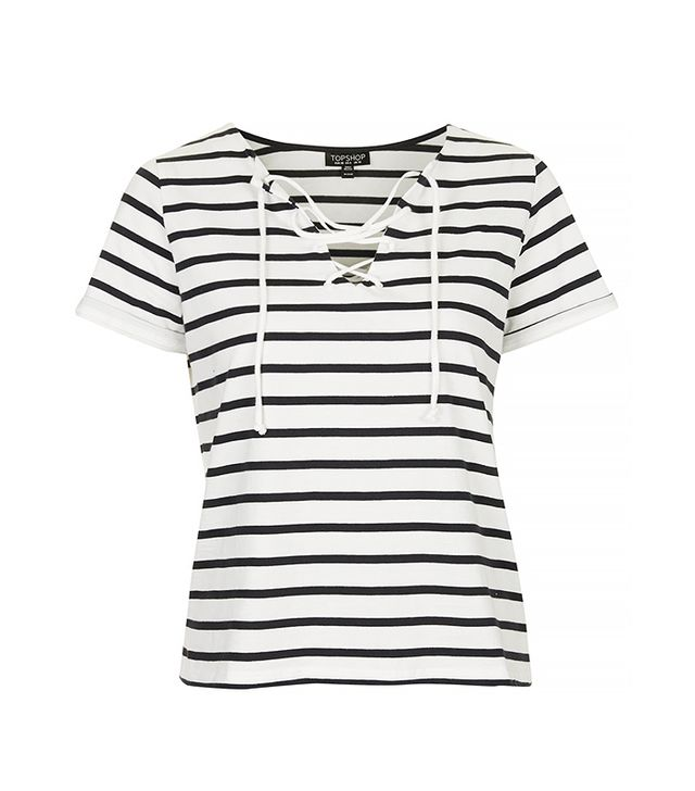 Topshop Tie-Front Striped Top