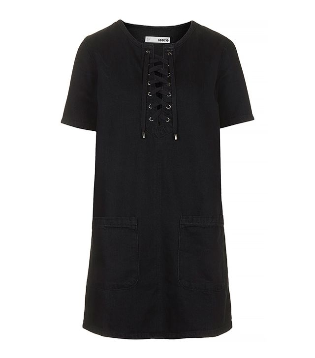Topshop Moto Black Denim Lace-Up Dress
