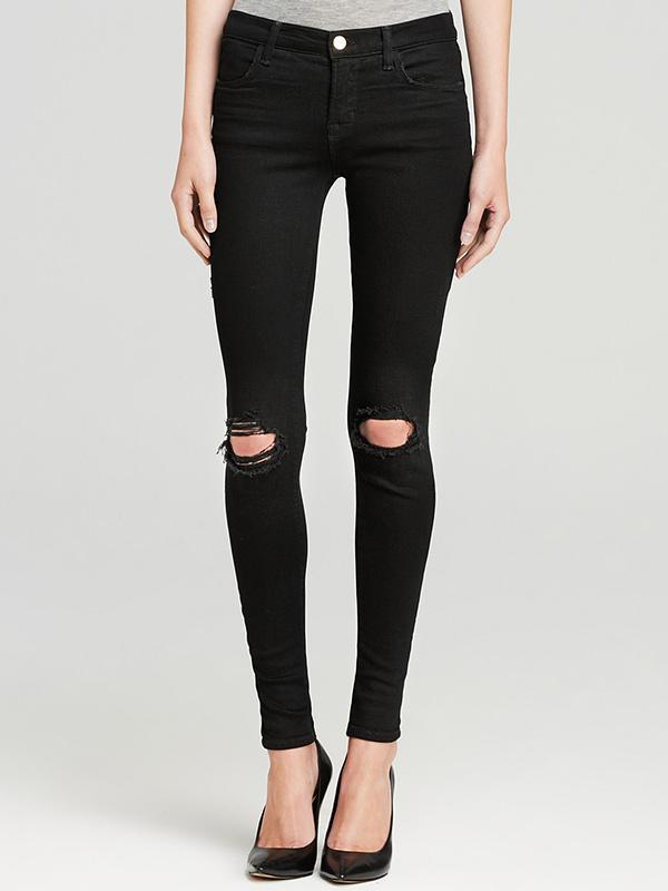 J Brand Mid Rise Super Skinny Destruction Jeans