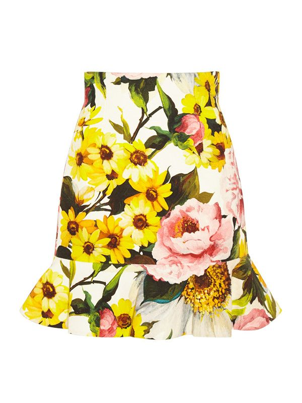 Dolce & Gabbana Floral-Print Textured Stretch-Cotton Skirt
