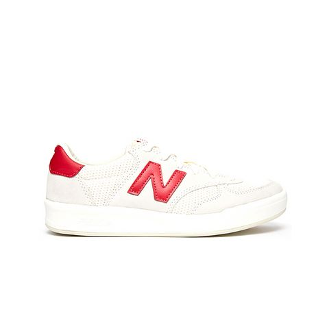 300 White/Red Suede Sneakers