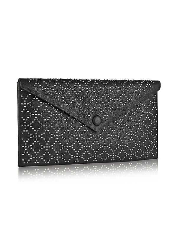Alaia Arabesque Studded Leather Envelope Clutch