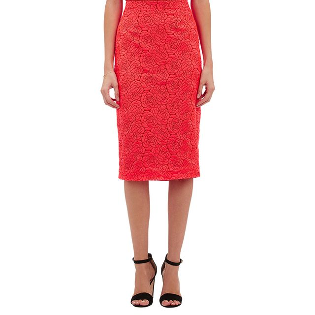 A.L.C. Rose-Embroidered Towner Midi Skirt