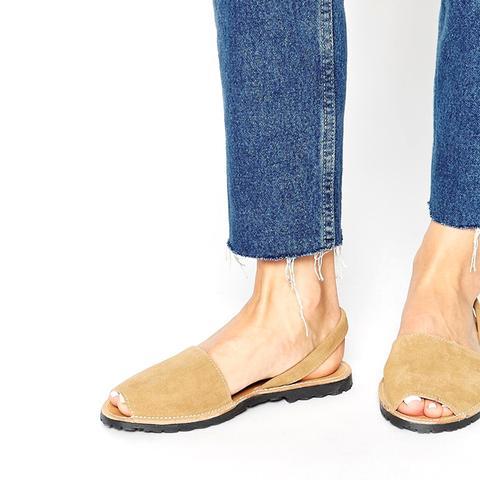 Suede Sling Flat Sandals