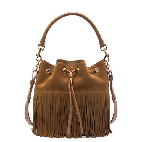 Medium Suede Fringe Emanuelle Bucket Bag
