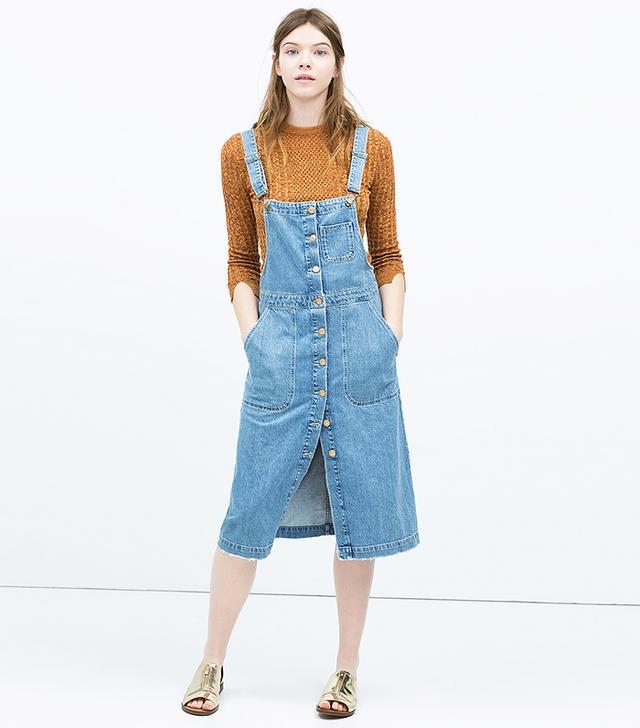 Zara Denim Bib-Front Dungaree Dress