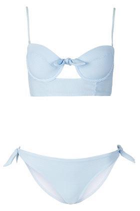 Topshop  Blue Stripe Longline Bikini