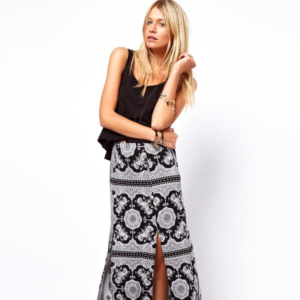 ASOS  Maxi Skirt in Scarf and Spot Print