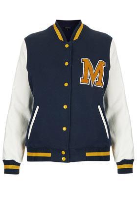 Topshop  M Jersey Varsity Bomber Jacket
