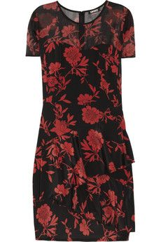 DKNY Jocelyn Printed Stretch Silk Crepe de Chine Dress