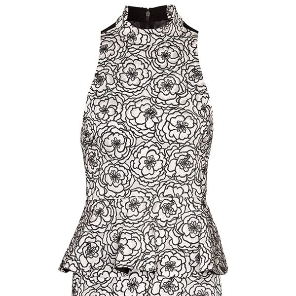 Alice + Olivia Freya Tie Halter Top Peplum Dress