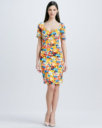 Theia Floral-Print Cocktail Dress