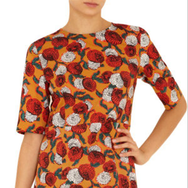 Marni Floral Print Elbow Sleeve Dress