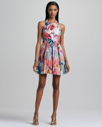 Nicole Miller Floral-Print Halter Cocktail Dress
