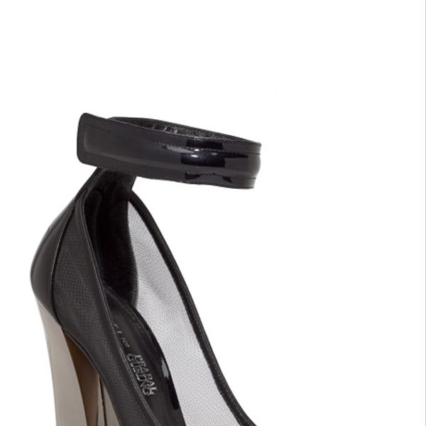 Prabal Gurung Black Capped Ankle Strap Pumps