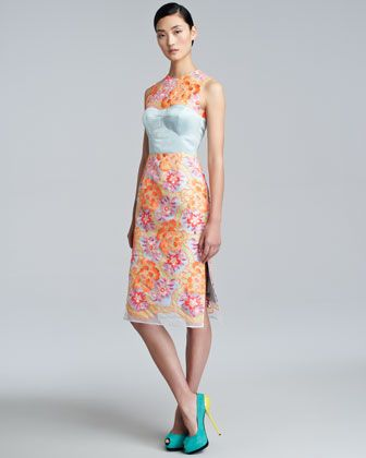 Erdem Floral-Embroidered Sheath Dress